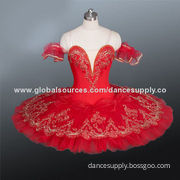 BT879 Red Classical Ballet Tutu, Adorned with Sequins, Embroidery and Jewels